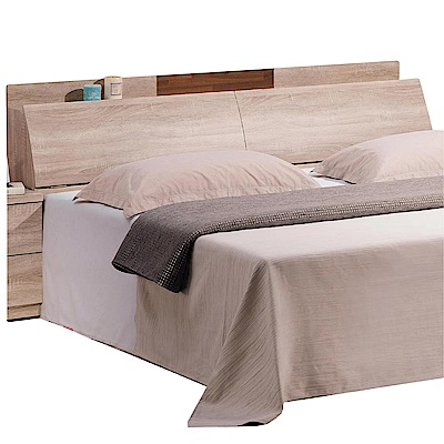 品家居 西可 5 尺橡木紋雙人床頭箱(附便利插座)- 152 x 30 x 88 cm免組