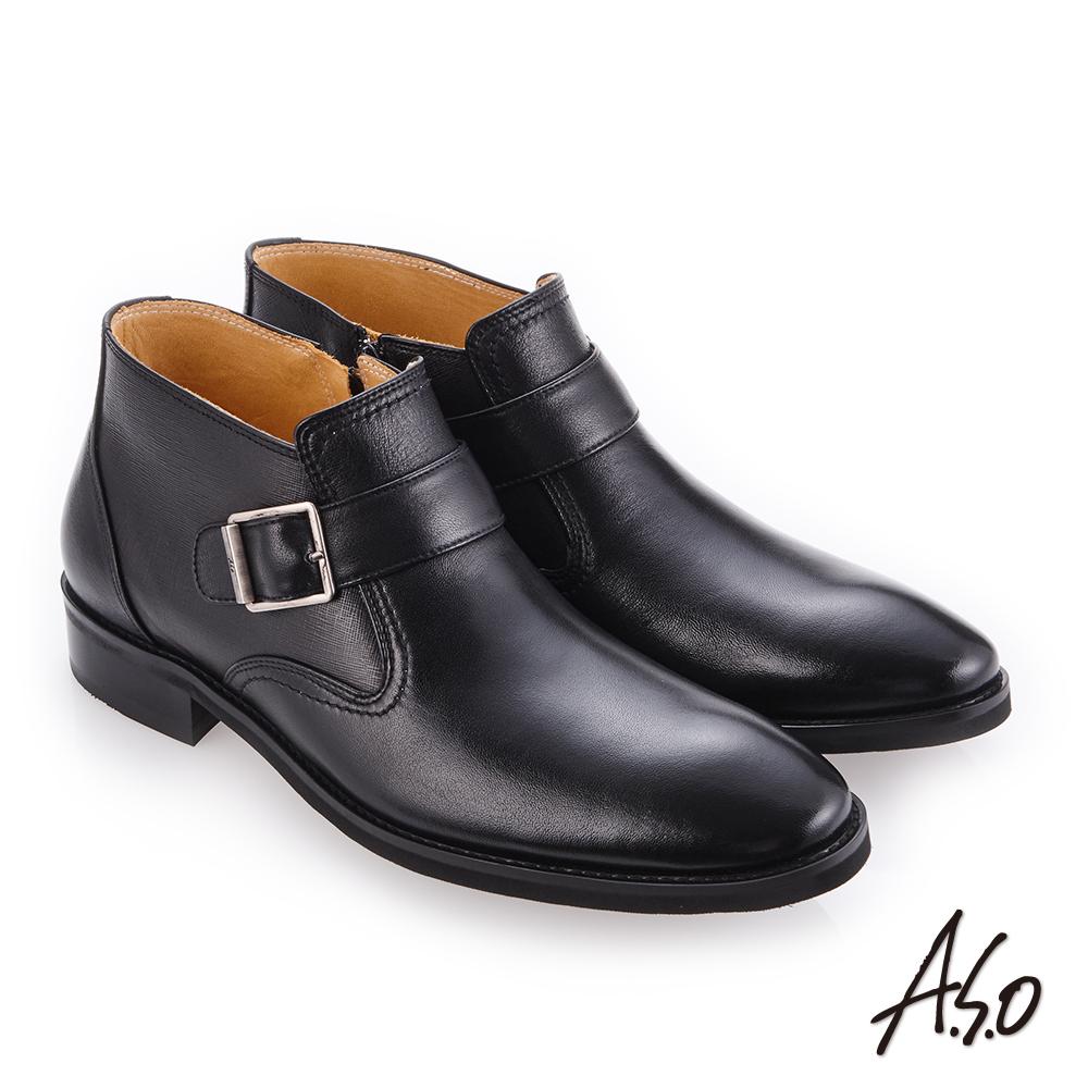 A.S.O 零壓挺力 精緻壓紋牛皮紳士鞋 黑
