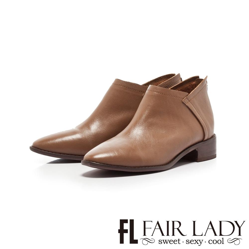 Fair Lady縫線皮革拼接後拉鍊低跟短靴 棕
