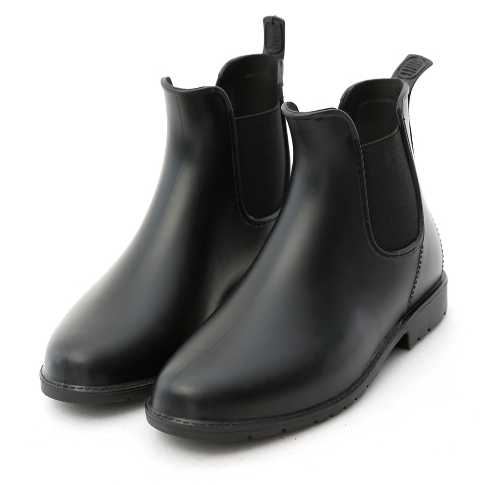 D+AF 晴雨二穿.側鬆緊切爾西短雨靴*黑