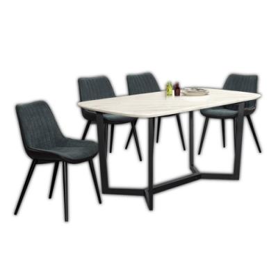 Boden-雷夫格5尺工業風石面餐桌椅組合(一桌四椅)-150x85x75cm