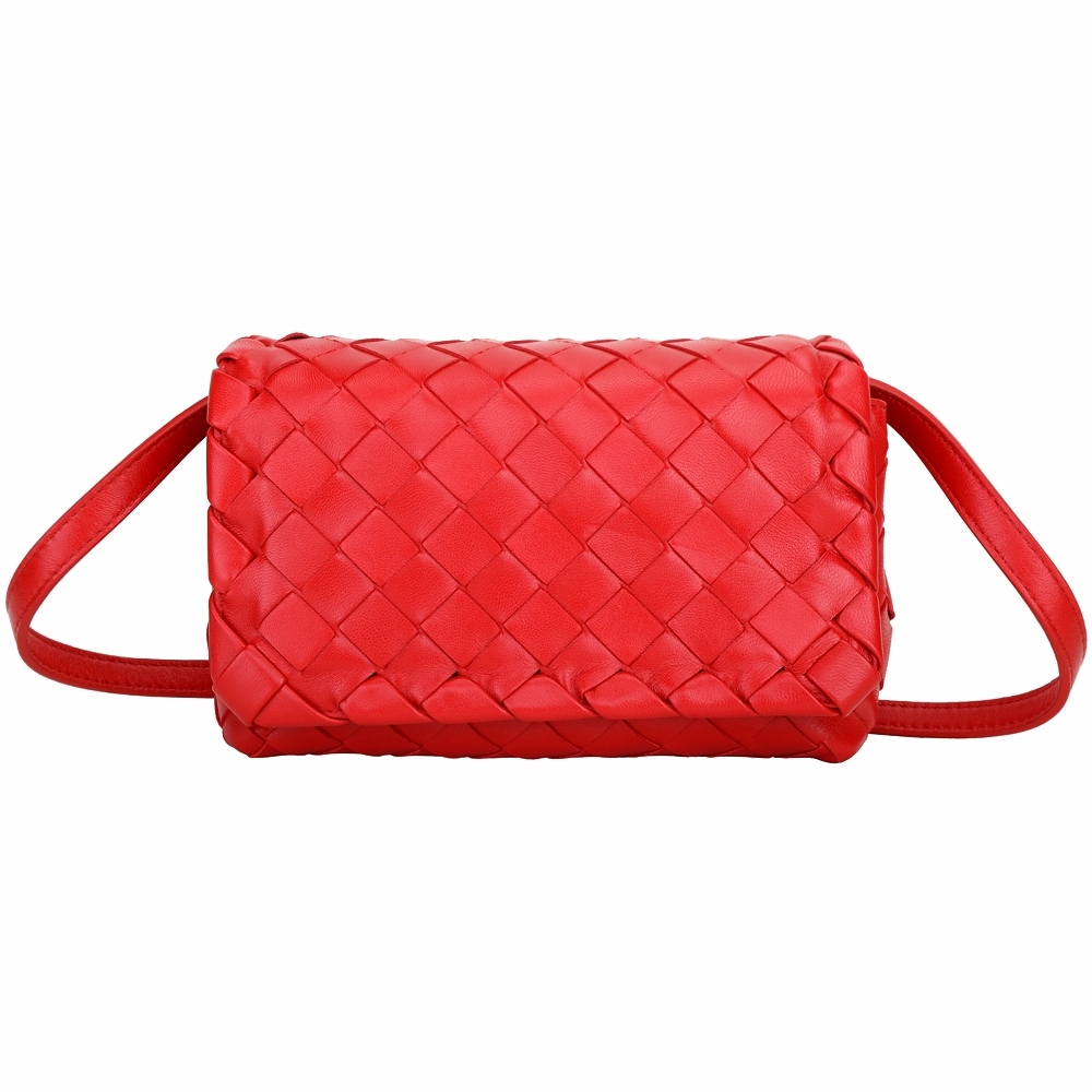 BOTTEGA VENETA 大方塊編織羊皮翻蓋斜背包(紅色)