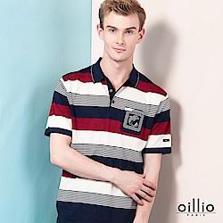 oillio歐洲貴族 短袖POLO領條紋線衫 透氣天絲棉衣料 紅色