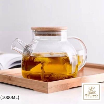 英國WILMAX 日式茶濾短嘴竹蓋把手耐熱玻璃壺/花茶壼-1000ML