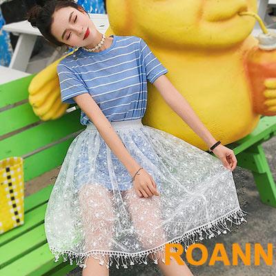 條紋長款上衣+透膚蕾絲網紗裙兩件套 (淺藍色)-ROANN