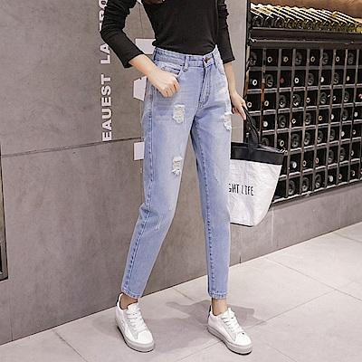 必備單品顯瘦刷破牛仔褲XL-5XL-WHATDAY
