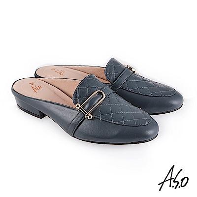 A.S.O 義式簡約 菱紋車線個性風穆勒鞋 藍
