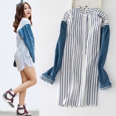 【韓國K.W.】韓系休閒寬鬆條紋洋裝