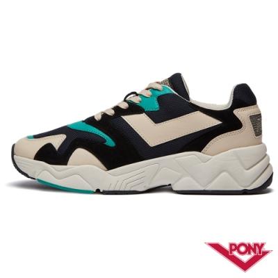 【PONY】MODERN 2系列-玩轉撞色潮流運動鞋 老爹鞋 球鞋 男款 黑/湖綠