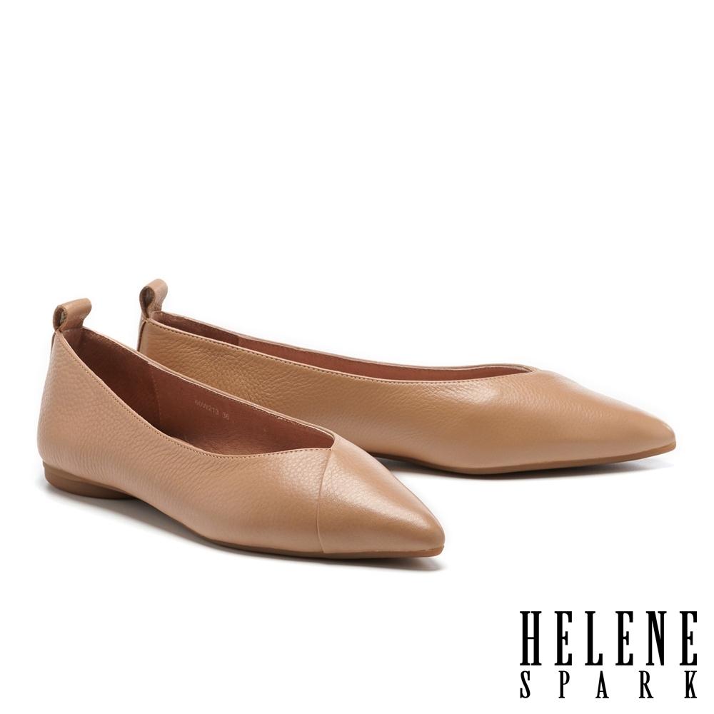 平底鞋 HELENE SPARK 極簡百搭全真皮尖頭平底鞋-杏