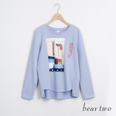 bear two- 潮流字母大學T - 藍
