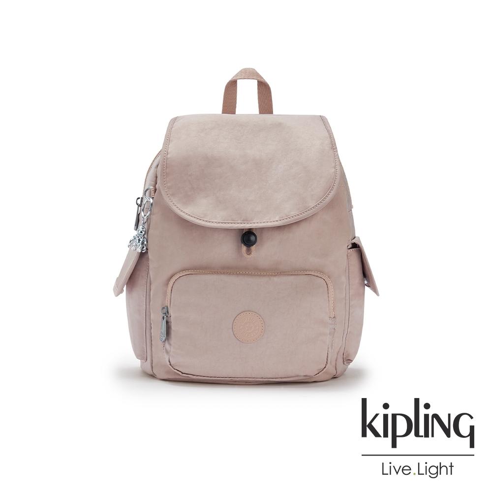 Kipling 玫瑰拿鐵色拉鍊掀蓋後背包-CITY PACK S