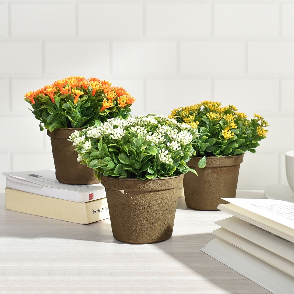 【Meric Garden】創意北歐ins風仿真迷你有花七里香療癒小盆栽/桌面裝飾擺設_3色任選