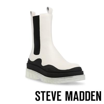 STEVE MADDEN-CHALLENGER 拼接厚底高筒靴-白色
