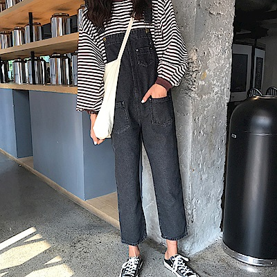 La Belleza前後雙口袋小口袋復古刷色可反折連身褲牛仔吊帶褲