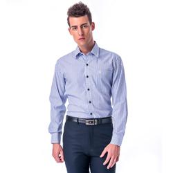 金‧安德森 白底深淺藍條紋變化門襟窄版長袖襯衫