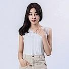 Victoria 異材質拚接微透視背心-女-白色