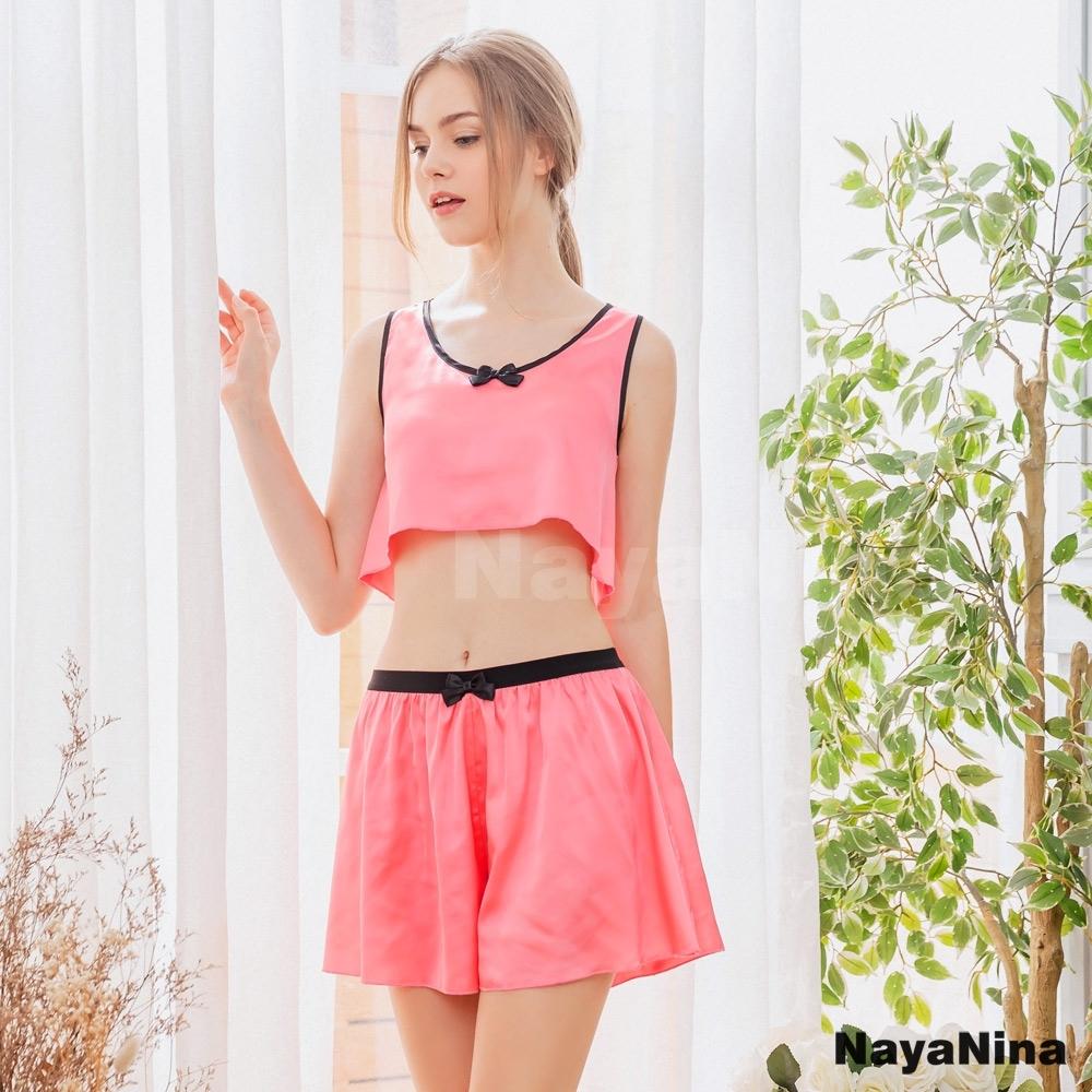 Naya Nina 甜美粉背心黑邊短版衣短褲二件式套裝居家睡衣-粉F