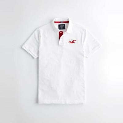 Hollister 經典刺繡大海鷗合身短袖Polo衫-白色