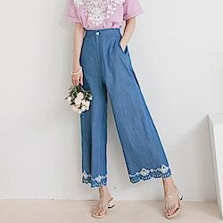 高含棉牛仔高腰後鬆緊繡花造型修身寬褲/長褲-OB大尺碼