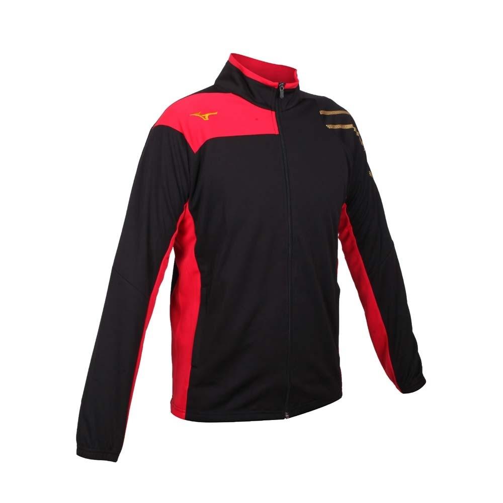 MIZUNO 男針織外套-美津濃 立領外套 吸濕排汗 抗UV 慢跑 運動 32TC103309 黑紅