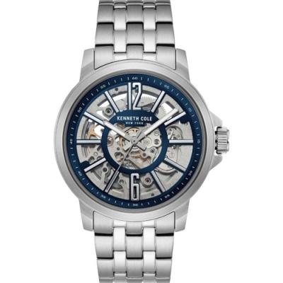 KENNETH COLE KC50779008 自動上鍊鏤空機械 男錶 不鏽鋼錶帶 深海藍面盤