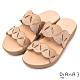 DIANA鏤空波浪鏤空4.5公分圓頭楔型涼鞋-活力時尚–杏 product thumbnail 1