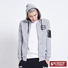 5th STREET 異素材貼袋 連帽外套-男-麻灰色