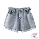 燙鑽反摺牛仔短褲 TATA PLUS-(L~2XL)