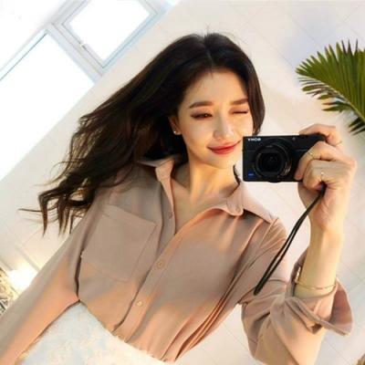 La Belleza絲滑素面單口袋前短後長質感舒適寬鬆襯衫