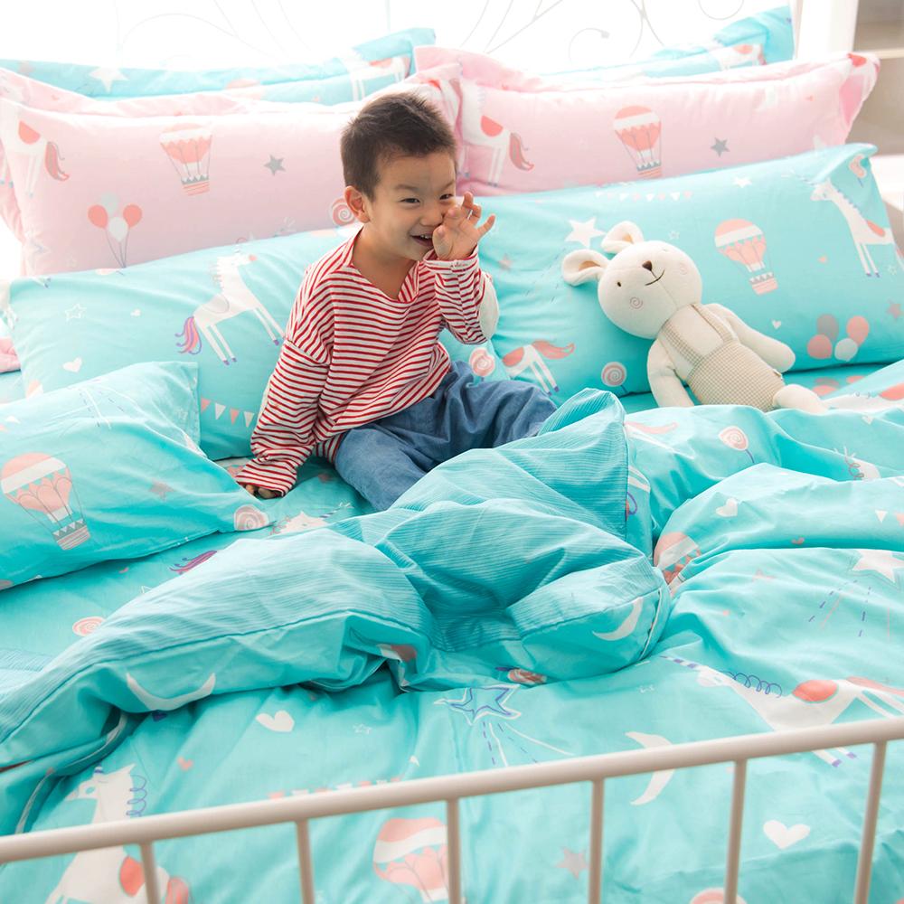 OLIVIA  夢幻星球 綠  標準單人床包冬夏兩用被套三件組 200織精梳純棉