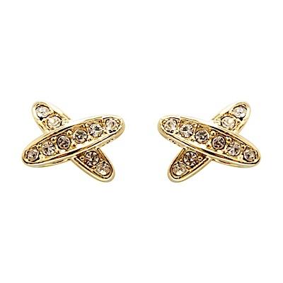 Prisme 美國時尚飾品 璀璨交織水鑽 金色耳環