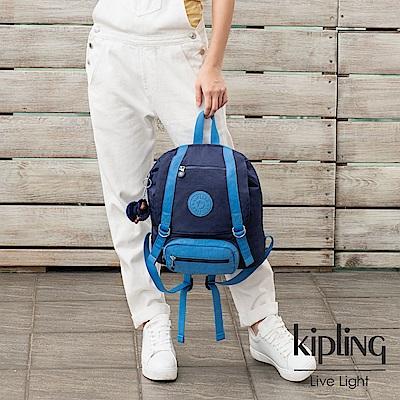 Kipling 夜空蔚藍撞色雙扣翻蓋束口後背包-JOETSU S