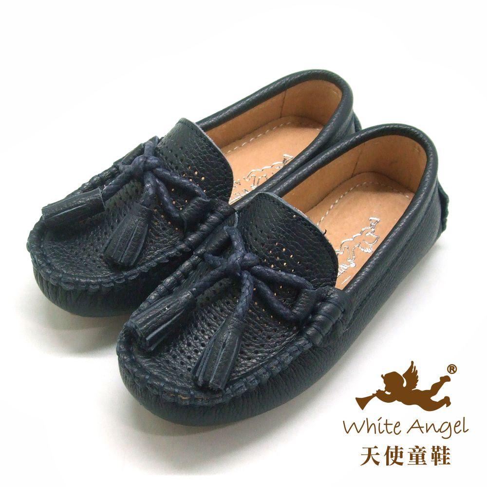 天使童鞋 真皮流蘇懶人鞋(中-大童)E9618-深藍