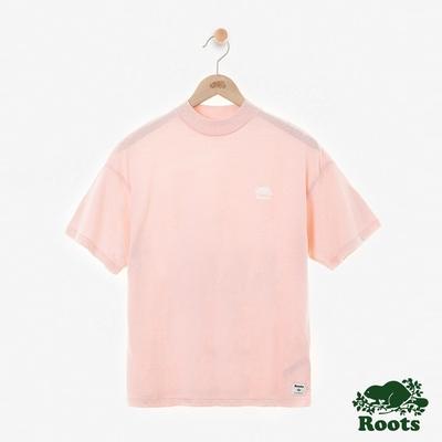 ROOTS女裝- 微高領短袖T恤-粉橘色