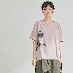 慢 生活 格紋拼接造型棉麻上衣-粉紅/深藍