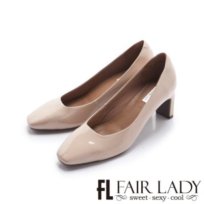FAIR LADY 優雅小姐 高雅方頭壓紋皮革細跟鞋 可可