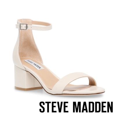 STEVE MADDEN-IRENEE 真皮美型一字粗跟涼跟鞋-米色
