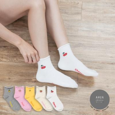 阿華有事嗎 韓國襪子 捲邊水果小圖中筒襪 韓妞必備長襪 正韓百搭卡通襪