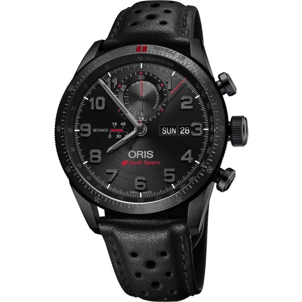 Oris Audi Sport 鈦限量賽車聯名計時腕錶-黑/44mm 0177876617784