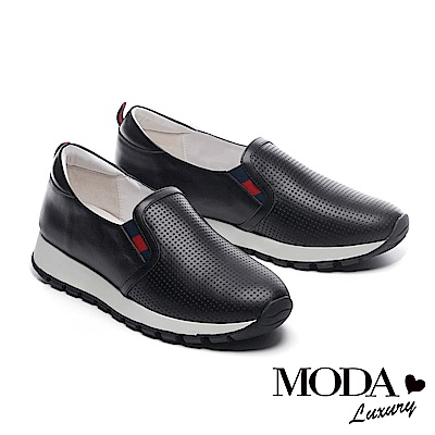 休閒鞋 MODA Luxury 極簡百搭十字紋理全真皮厚底休閒鞋-黑