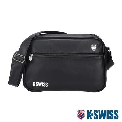 K-SWISS CT LEATHER BAG BIG 2皮革側背包(大)-黑