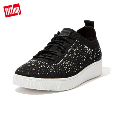 FitFlop RALLY OMBER CRYSTAL KNIT SNEAKERS-繫帶休閒鞋 女(黑色)