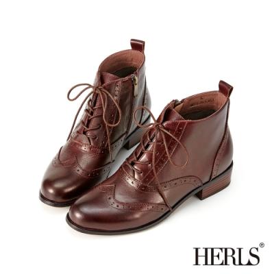 HERLS短靴-歐洲進口牛皮翼紋雕花沖孔牛津靴綁帶短靴-深棕色