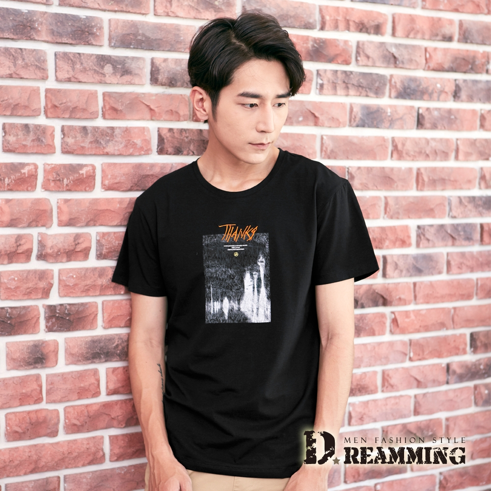 Dreamming 藝術名畫萊卡彈力圓領短T 親膚 涼感 透氣-共二色 (黑色)