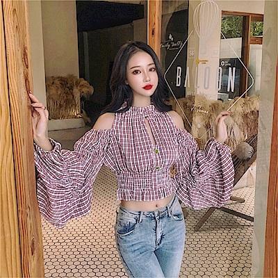DABI 韓國風時尚襯衫露肩燈籠袖木耳邊長袖上衣