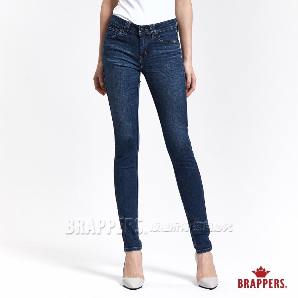 BRAPPERS 女款 新美腳ROYAL系列-中高腰彈性W刺繡鑲鑽窄管褲-深藍