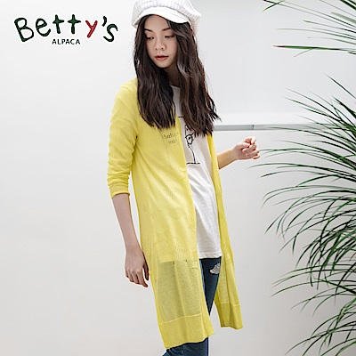 betty's貝蒂思 星星鏤空開衩針織長版罩衫(黃色)