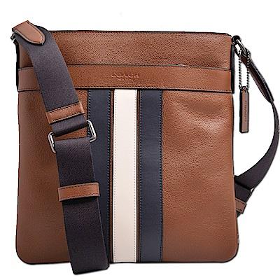 COACH 烙印LOGO雙色條紋荔枝紋皮革方形扁包/斜背包-咖啡色