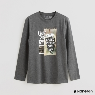 Hang Ten - 男裝 - 時尚圖樣印花棉質圓領上衣 - 灰
